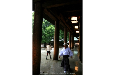 Monk and young woman walking in opposite direction, during a rainy day, in a shinto Temple. Tokyo, Japan