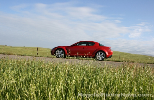 2008 Mazda RX8 countryside road, Santa Barbara, California, USA