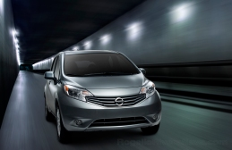 2013 Nissan Note (Versa Note in USA), three quarter, running shot (studio) in tunnel photo scene