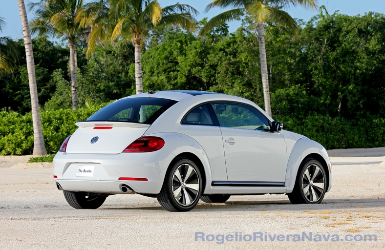 2012 VW Beetle, three quarter rear beauty, Mexican press launch, Riviera Maya, Quintana Roo, Mexico  [ Focal lenght: 90 | Shutter speed: 1/320 | f number: 6.3 ]