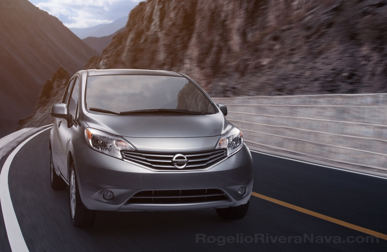 2013 Nissan Note (Versa Note in USA). Running shot (studio) in road (composite photo)