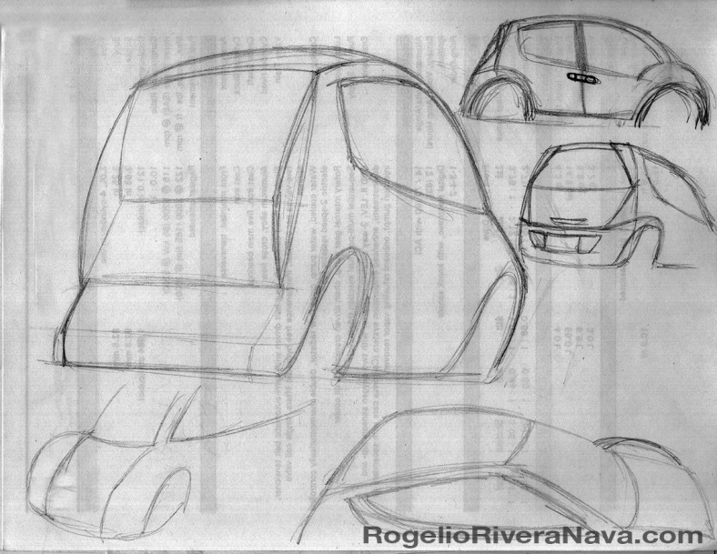 Concept cab for personal service. Three-quarter rear and side view. / Entry for the Bus Rapid Transit (BRT) and the American Community design contest 2001, sponsored by the Federal Transit Administration and the BRT Initiative, United States of America. / Sketch by Rogelio Rivera Nava (circa April 2001) / rogelioriveranava.com