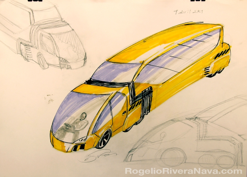Hand rendering and sketches by Rogelio Rivera Nava (April 4, 2001) / rogelioriveranava.com